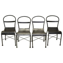 1930s Set of Four Polished Metal Chairs