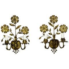 Italian Gilded Floral Candelabra Sconces, Pair