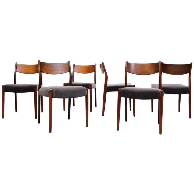Set of Six Rosewood Cees Braakman Dining Chairs with Velvet Upholstered Seats
