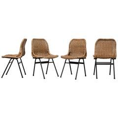 Set of Four Dirk Van Sliedregt for Rohé Noordwolde Woven Rattan Chairs