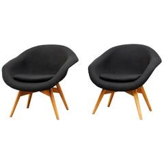 Miroslav Navrátil Black Upholstered Bucket Lounge Chairs for Vertex