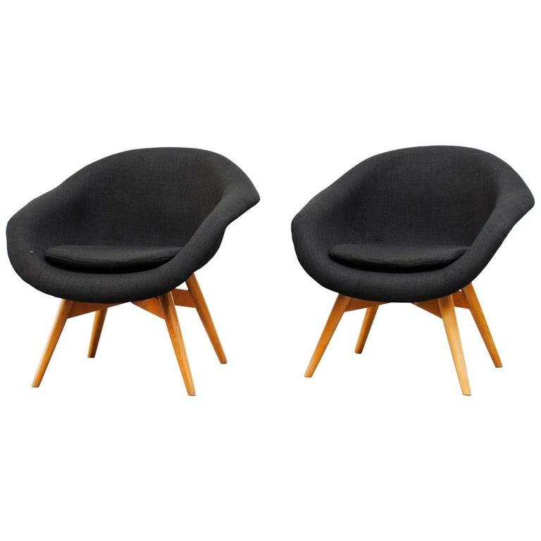 Miroslav Navrátil Black Upholstered Bucket Lounge Chairs for Vertex