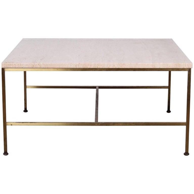 Paul McCobb Brass and Travertine Coffee Table