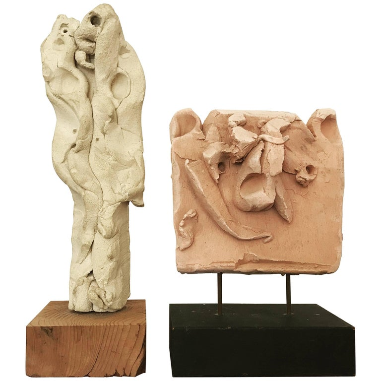 Emerson Woelffer Abstract Expressionist Ceramic Sculptures, 1979 For Sale
