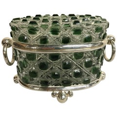 Green Cut to Clear Table Box Attributed to Baccarat