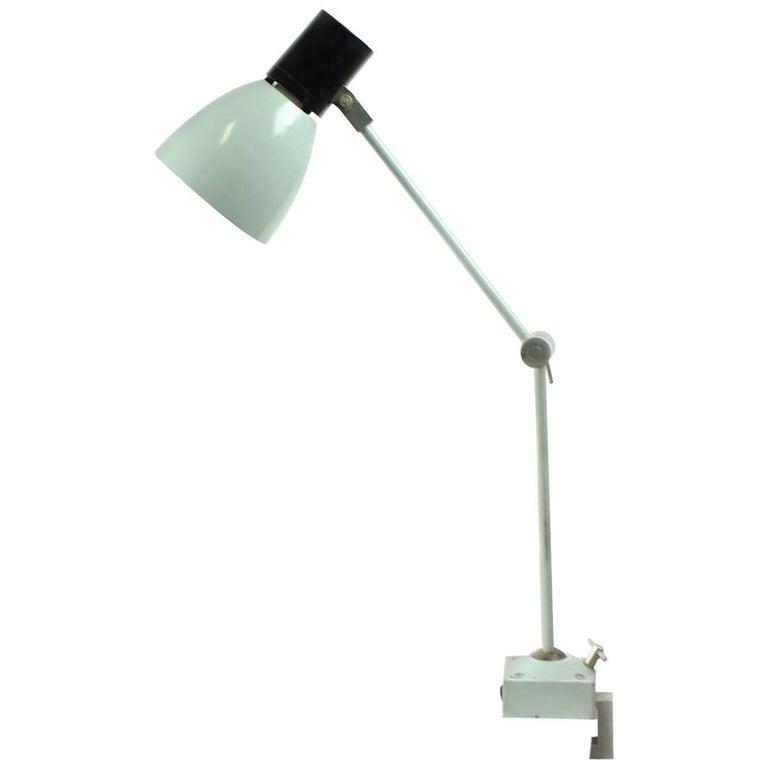 Industrial Factory Metal Table Lamp, Czechoslovakia, circa 1950