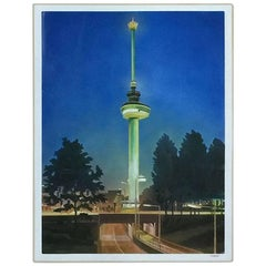 Bob Lens '1939', Euromast by Night, Rotterdam 1975, Oil on Canvas