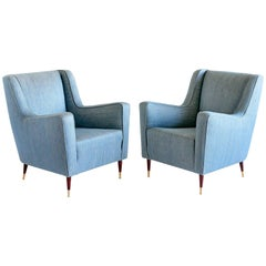 Pair of Gio Ponti 'Conte Grande' Armchairs, Late 1940s