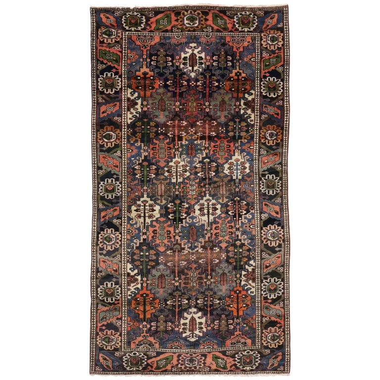 Antique Bakhtiari Area Rug with Four Seasons Garden Design, Persian Gallery Rug For Sale