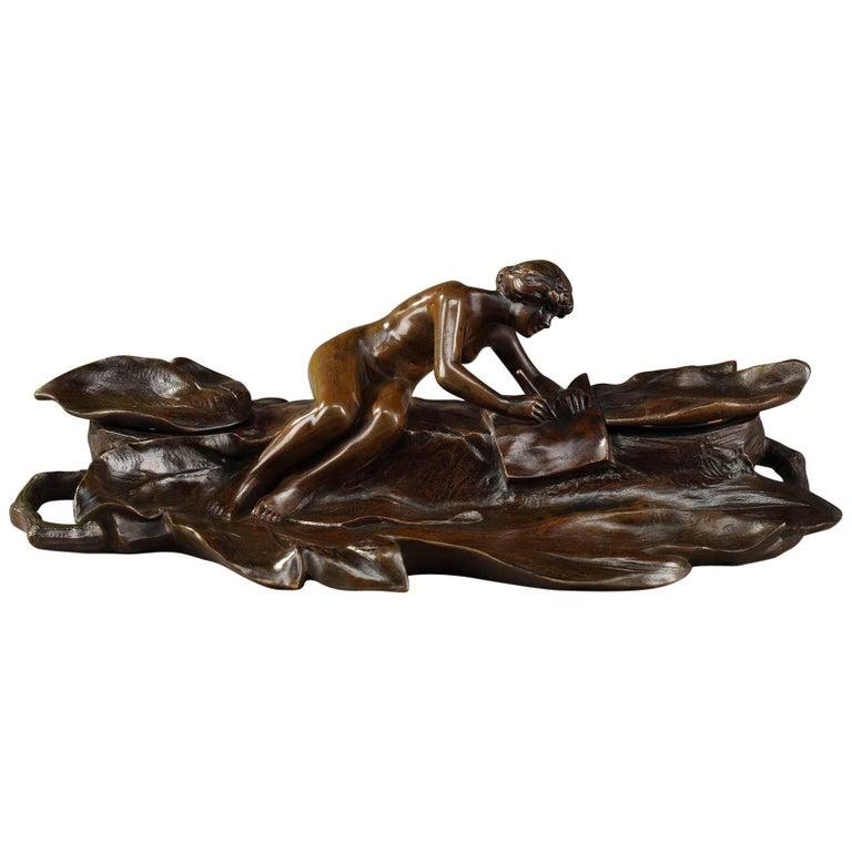 Art Nouveau Bronze Sculpture and Inkwell by Karl Korschann