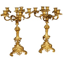 Antique Pair of French Candelabras in Gilt Bronze from 19th Century