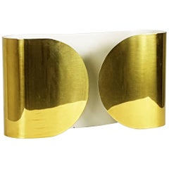 "Early & Rare ""Polished Brass Finish"" Version Foglio Sconce by T. Scarpa for Flos"