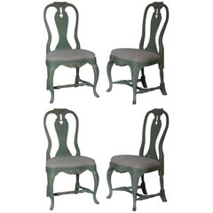 Set of Four Gustavian Style Painted Swedish Chairs