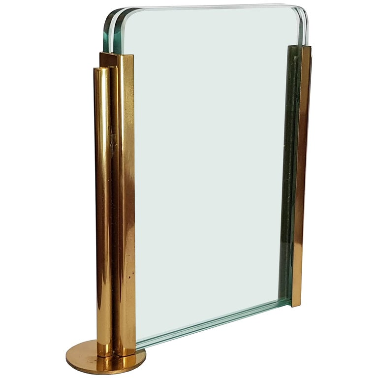 Brass and Glass Italian 1970s Picture Frame