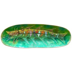 Large Green Colorful Enamel on Copper Fish Bowl De Poli or circle, Italy, 1950s