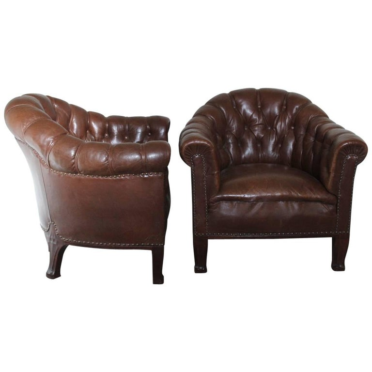 Unusual Pair of French Buttoned Leather Armchairs