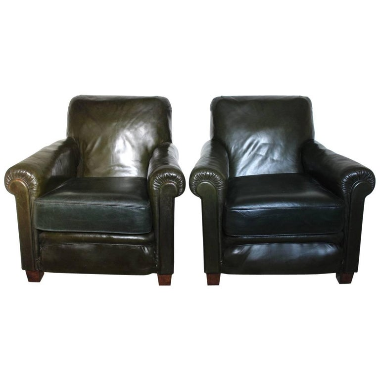 Pair of 1940s Vintage Green Leather Armchairs