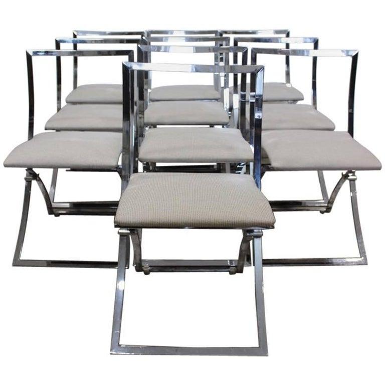 Stylish Set of Ten 1970s Italian Chrome Dining Chairs