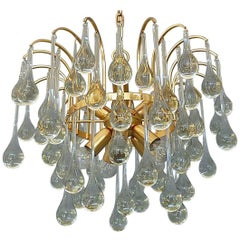 Large Gilt Brass Elongated Murano Glass Drops Sputnik Waterfall Chandelier 1960s