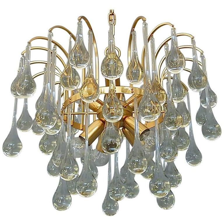 Large Gilt Brass Elongated Murano Glass Drops Sputnik Waterfall Chandelier 1960s