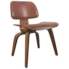 Rare Early Production Leather and Walnut D C W by Charles Eames