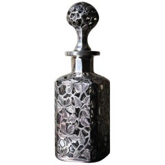 Late 19th Century American Glass and Applied Silver Perfume Bottle, Alvin Mfg Co