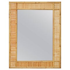 1970s Bamboo Laced Wicker Framed Mirror.