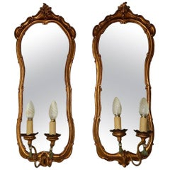 19th Century Italian Giltwood Mirror Sconces