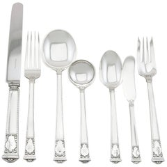 1930s Antique American Sterling Silver Canteen of Cutlery for Six Persons