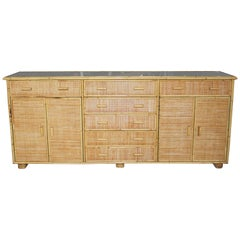 1970s Bamboo and Laced Wicker Long Console Cabinet
