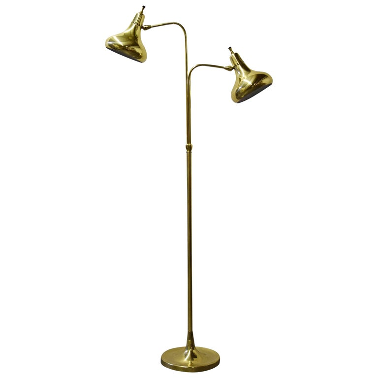 Lightolier Brass Dual Headed Floor Lamp