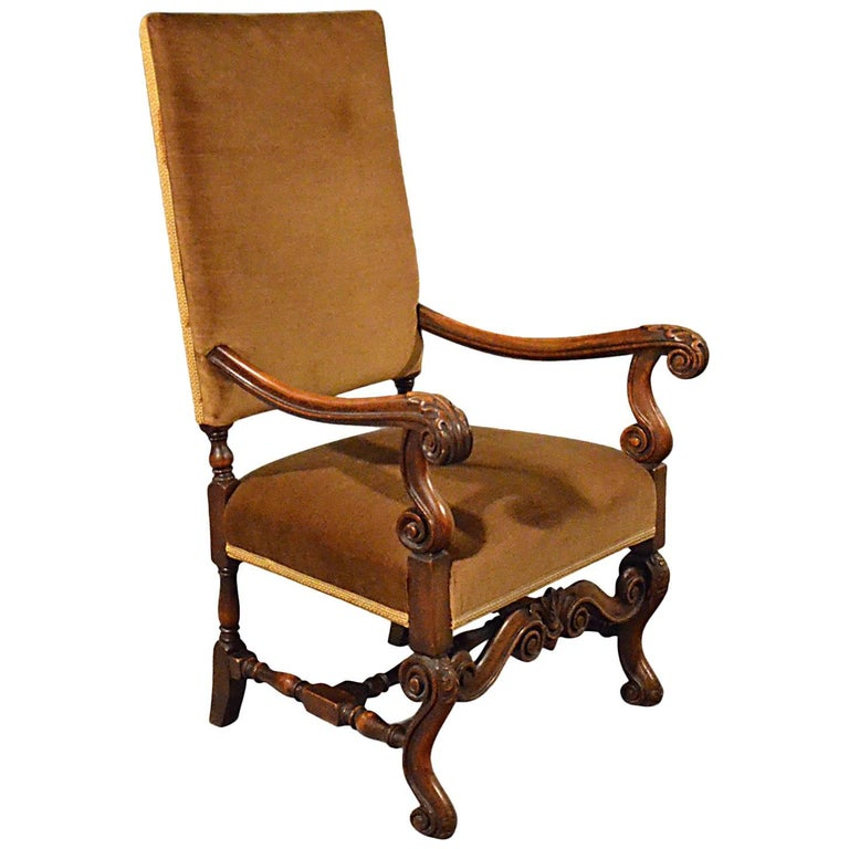 Antique Elbow Chair English Walnut Armchair Victorian, circa 1880