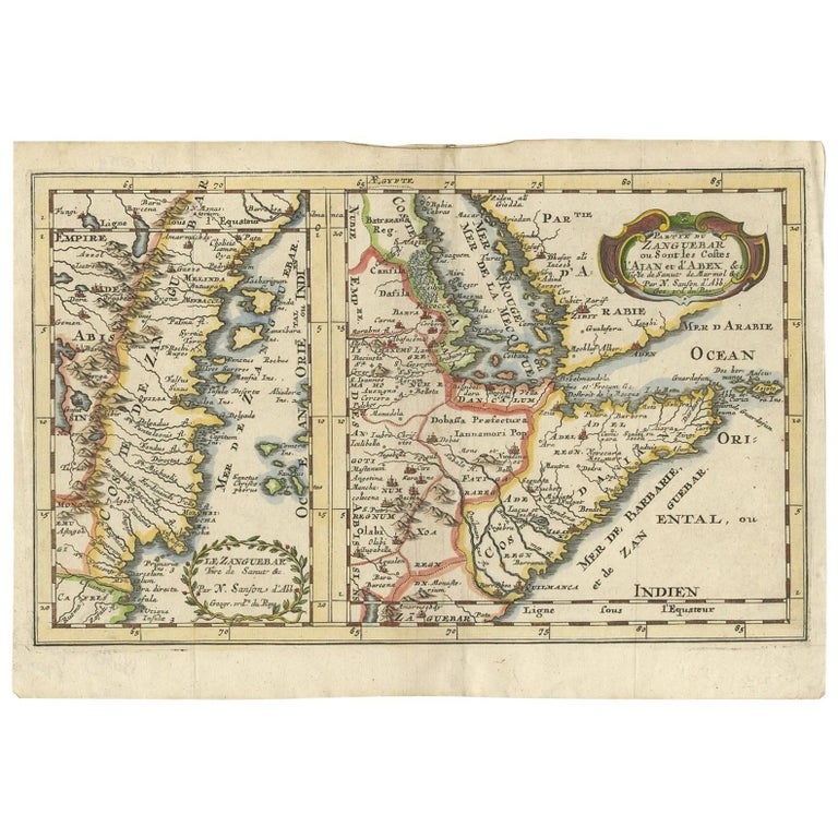 Map Of Africa Zanzibar.Antique Map Of Zanzibar And The East African Coast By N Sanson Circa 1690