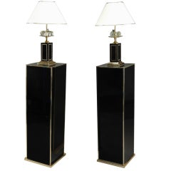 20th Century Pair of Black Melamine and Laminate Columns and Lamps