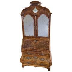 Dutch Burr Walnut Bureau Bookcase