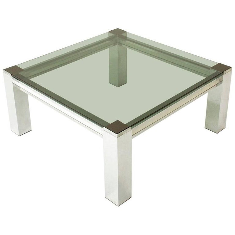 Italian Square Chromed Coffee Table, 1970s