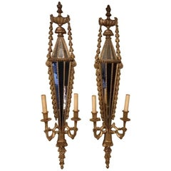 Good Pair of Carved Giltwood Edwardian Period Girandoles/Wall Lights