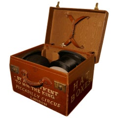 Salesman's Sample Edwardain Leather Hat Box and Hats, Drew and Sons Trunk Makers