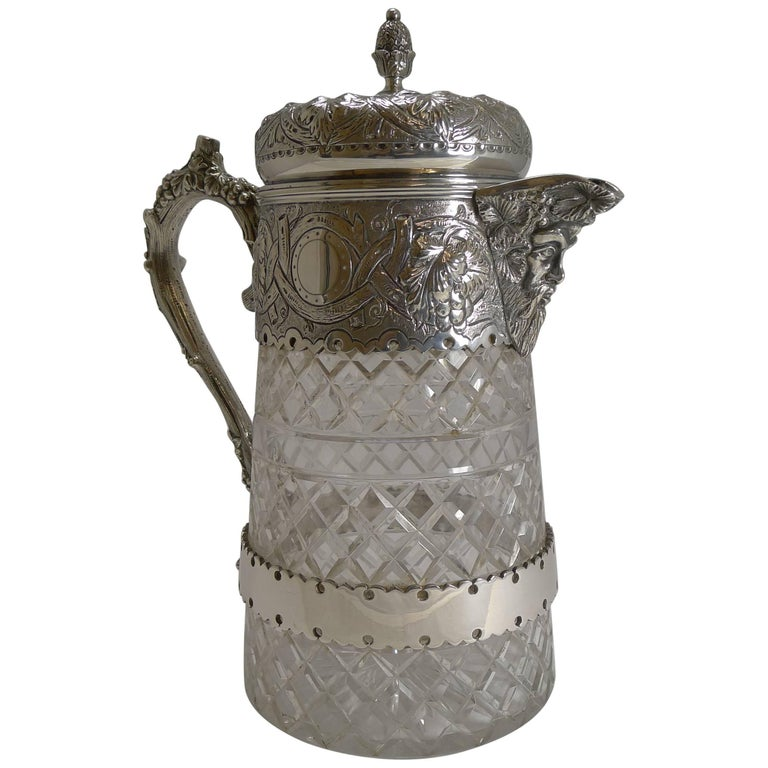 Antique English Cut Crystal and Silver Plate Wine Jug For Sale