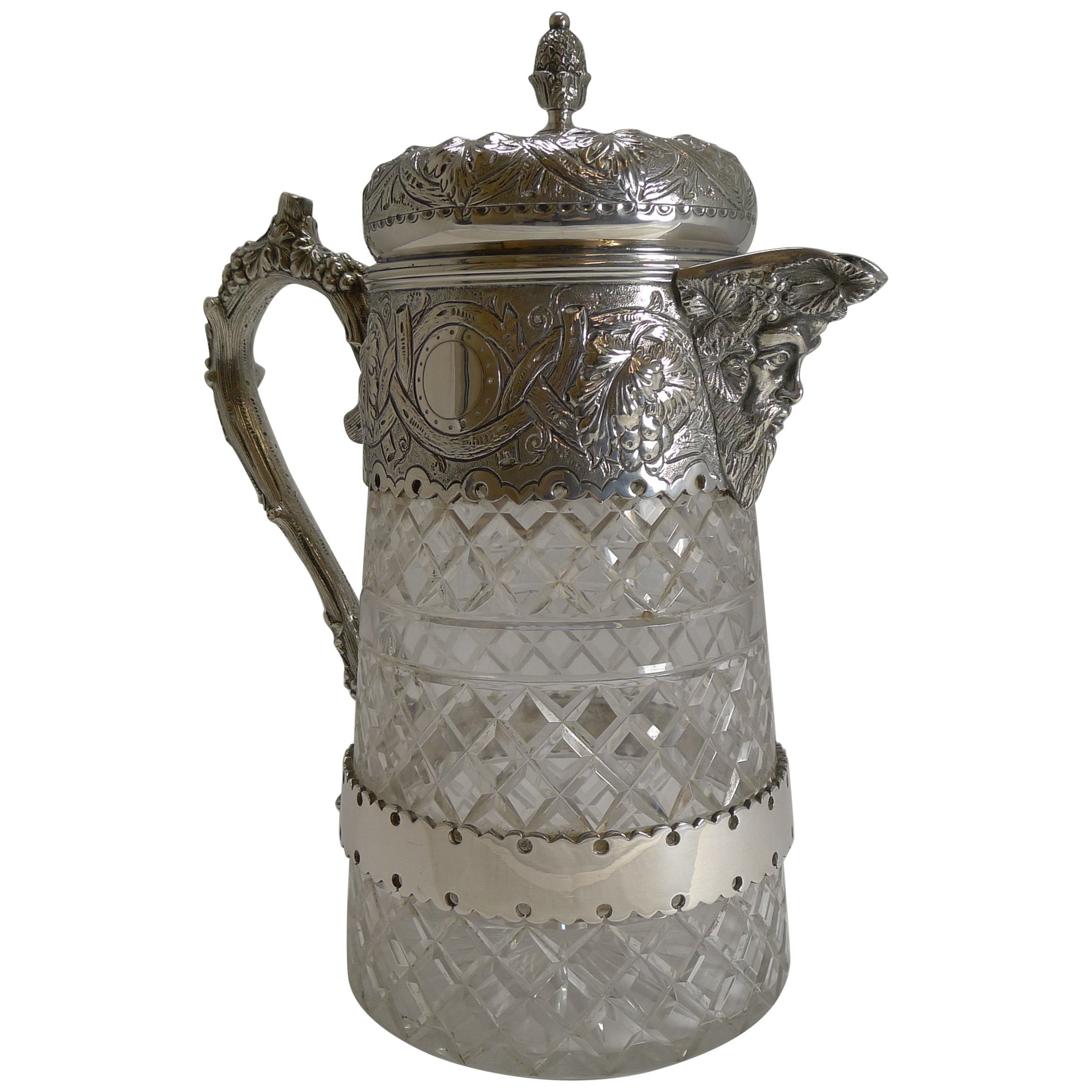 Antique English Cut Crystal and Silver Plate Wine Jug