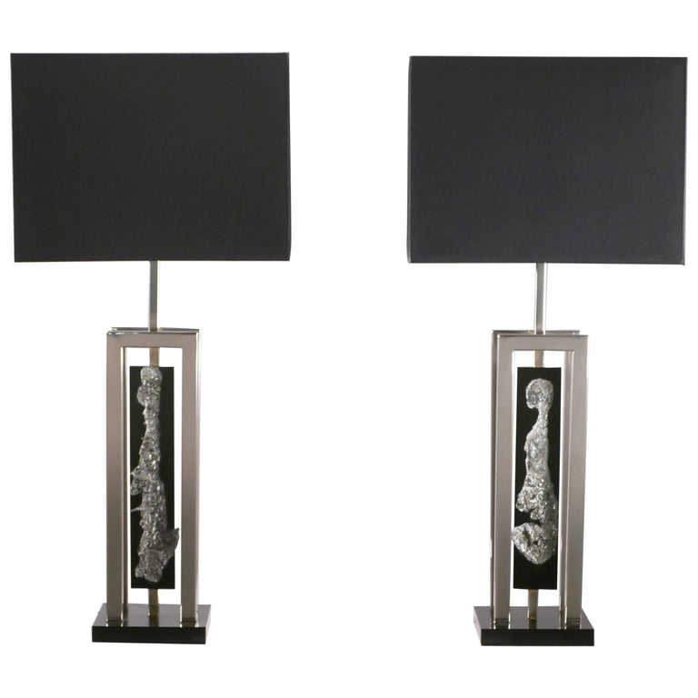 Pair of Large Philippe Cheverny Nickel and Chrome Floor Lamps, 1970s ...