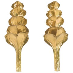 Large Pair of Brass Sconces by Maison Romeo, 1970s