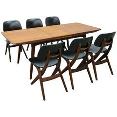 Louis Van Teeffelen for WéBé, Dutch Design Table and Matching 'Scissor' Chairs