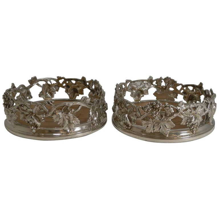 Finest Pair of Antique English Silver Plate Wine Coasters by Elkington, 1854 For Sale