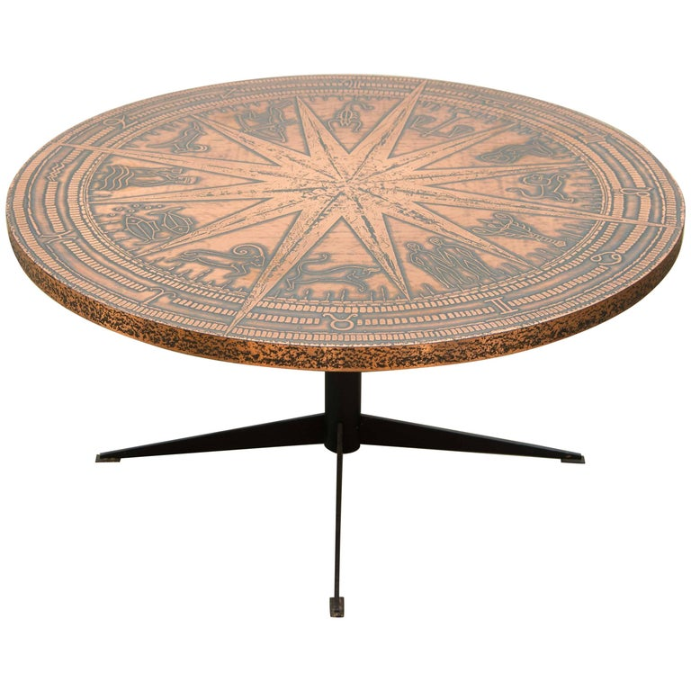 Round Coffee Table with Zodiac Figures or Signs Engraved in Copper, 1950