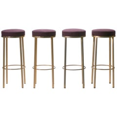 Four French Bar Stools in Brass by Maison Romeo, 1970s