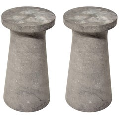 Honed Nero Marquina Marble End Table, Counter Stool