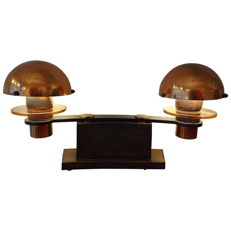 Double Leather and Wood Table Lamp, 1930s, by Paul Dupré-Lafon For Sale