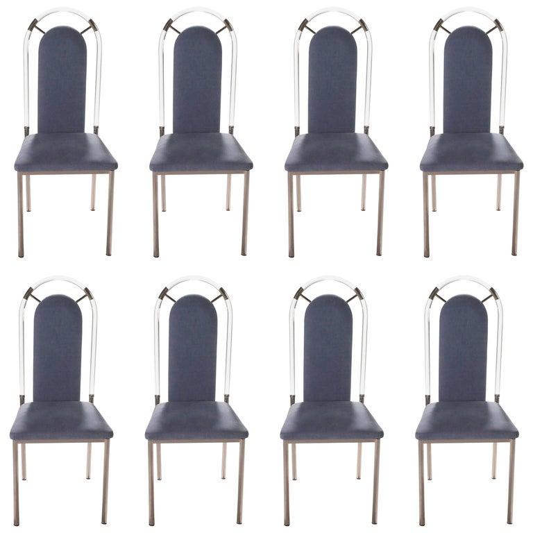 Set of Eight Chairs Plexiglass and Gunmetal by Maison Jansen, 1970s