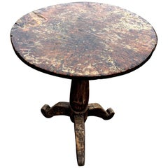 Superb Primitive Carved Wood Round Pedestal Side Table End Table